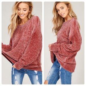 Oversized Chenille Pullover in Rose